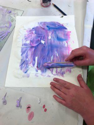 printmaking with shaving cream